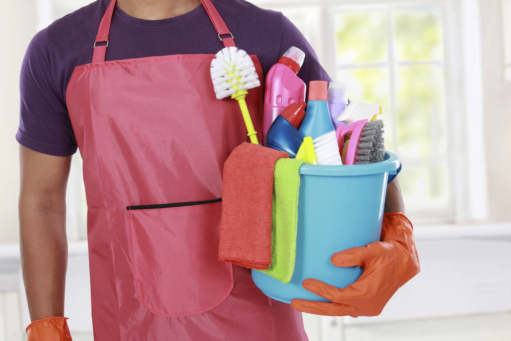 Portrait of hand with cleaning equipment